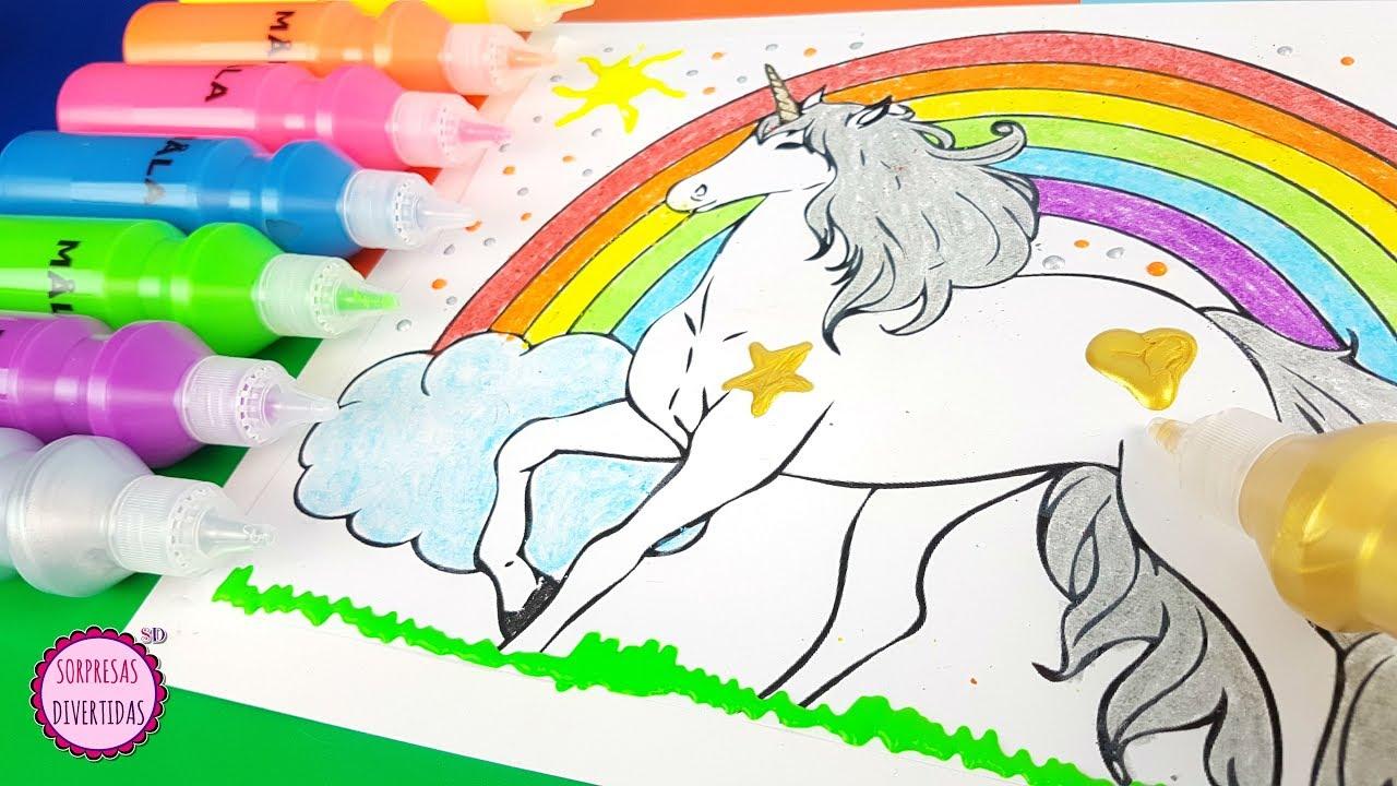 Pintando Un Dibujo De Unicornio Dacs Colores Y Pinturas Para Niños