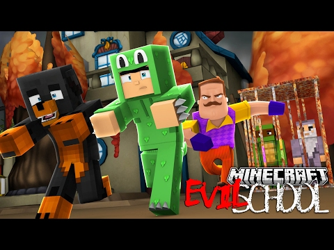 Minecraft EVIL SCHOOL - BREAKING INTO THE SCARY HELLO NEIGHBOUR HOUSE - Donut the Dog