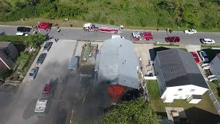 Explosion & House Fire Caught w/ Drone - Fire Department Fail? You be the judge.