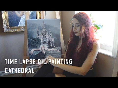 Oil Painting Time Lapse | Surreal Dark Art Cathedral Landscape Portrait