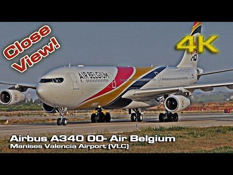 Air Belgium's  [4K] Airbus A340 (00-ABB) Valencia (Close view)