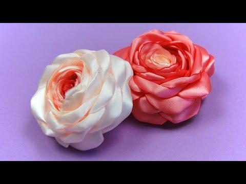 Розы из Лент своими руками / Satin Ribbon Rose Tutorial / ✿ NataliDoma