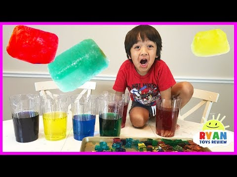 GIANT COLOR ICE CUBE Science Experiments for Kids to do at home orbeez like with Ryan ToysReview