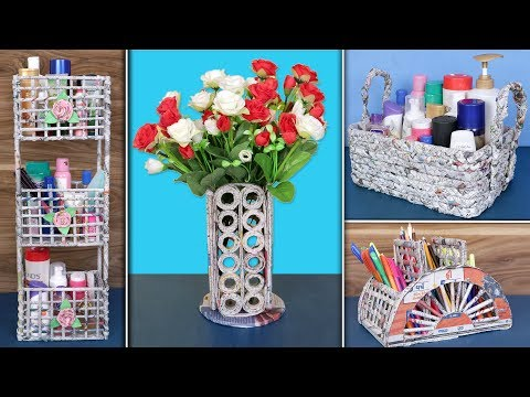 6 Newspaper Craft... DIY Handmade Things !!! Reuse Ideas