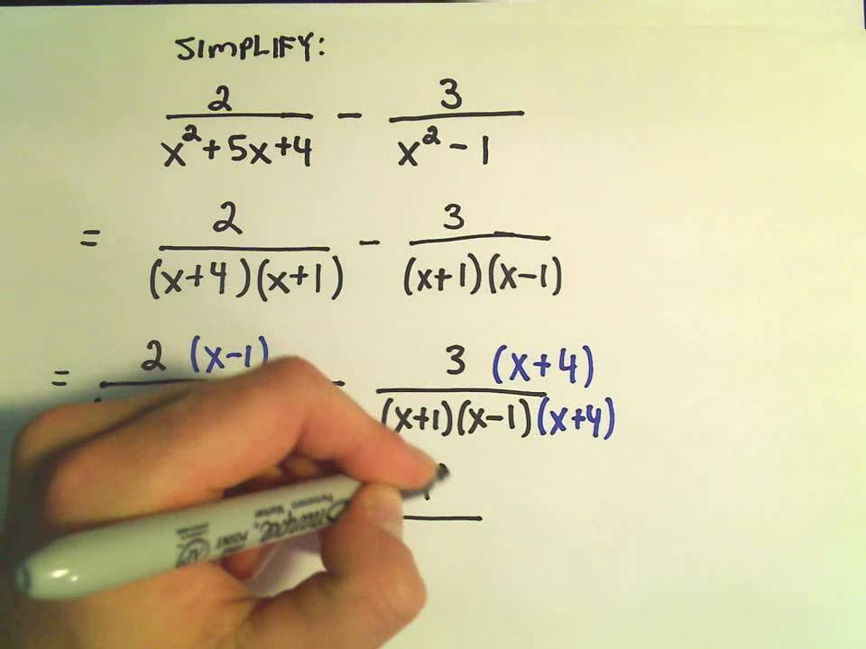 Rational expressions adding and subtracting ex 2 youtube