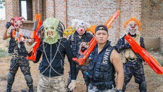 LTT Films : Hunter Squad Silver Flash Nerf Guns Fight Crime Group BIGMAN Mask Invisible Monsters