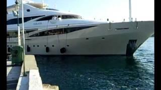 Interesting docking of mega yacht M/Y Kolaha in the port of Rovinj - Croatia