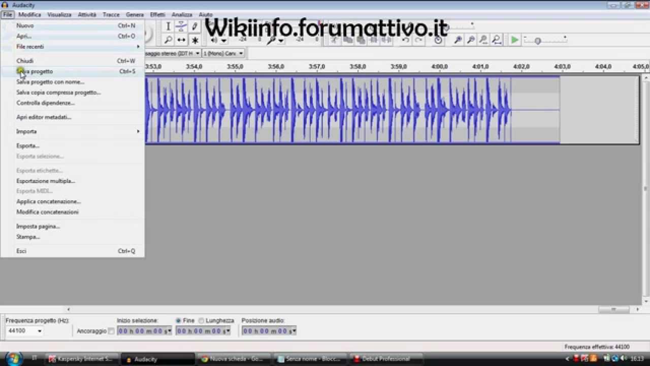 tutorial su come registrare solo l'audio del computer con audacity