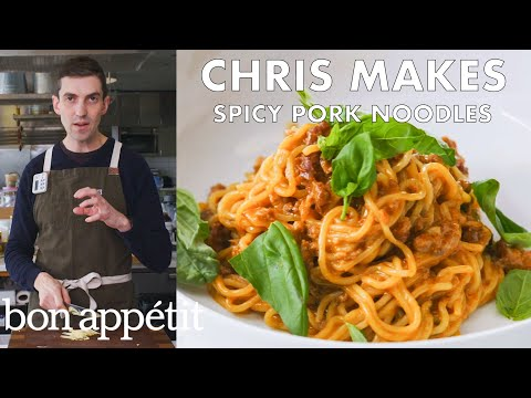 Chris Makes Spicy-Sweet Sambal Pork Noodles | From the Test Kitchen | Bon Apptit