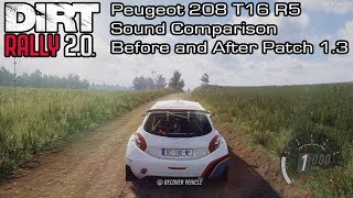 DiRT Rally 2.0 - Peugeot 208 T16 R5 Sound Comparison - Before and After Patch 1.3
