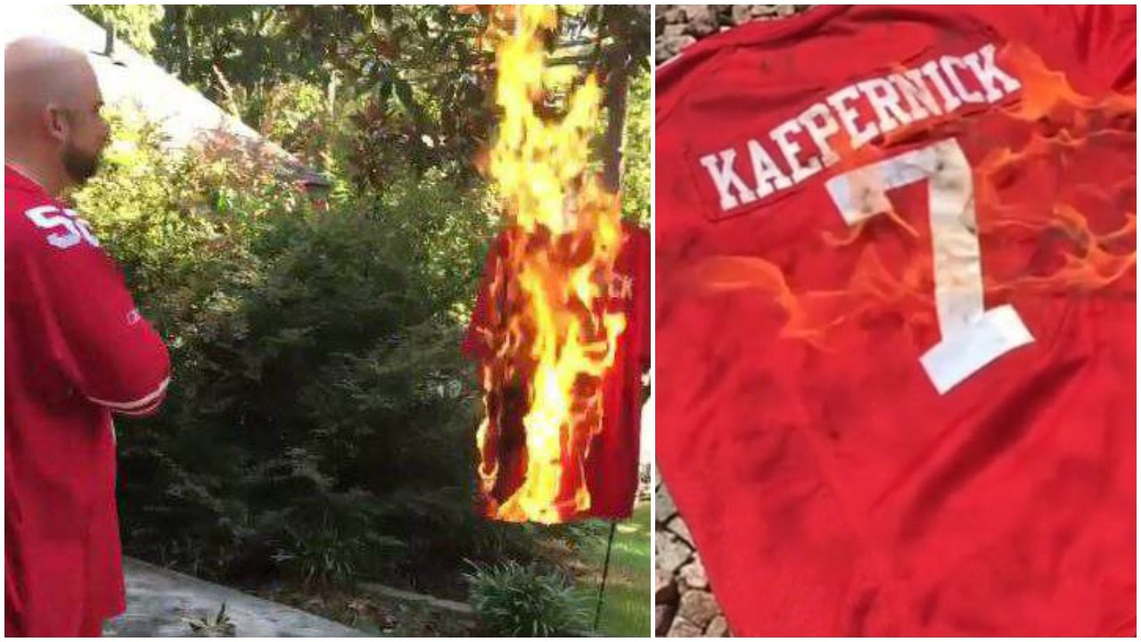3bae3f3a8 Players slam Colin Kaepernick  fans burn his jersey for National Anthem  protest - YouTube