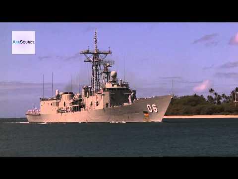 Australian Navy HMAS Newcastle (FFG 06) Arriving at Joint Base Pearl Harbor-Hickam