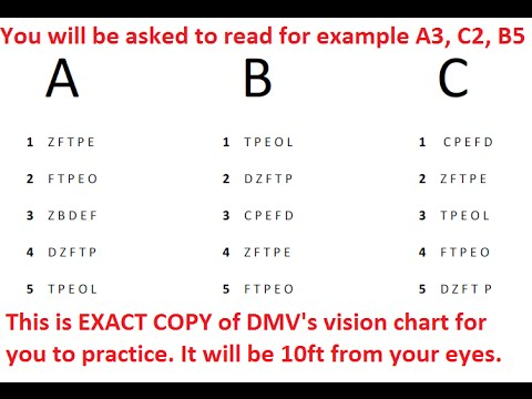 DMV Vision Test for Class C Vehicles - YouTube