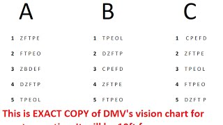 DMV Vision Test for Class C Vehicles