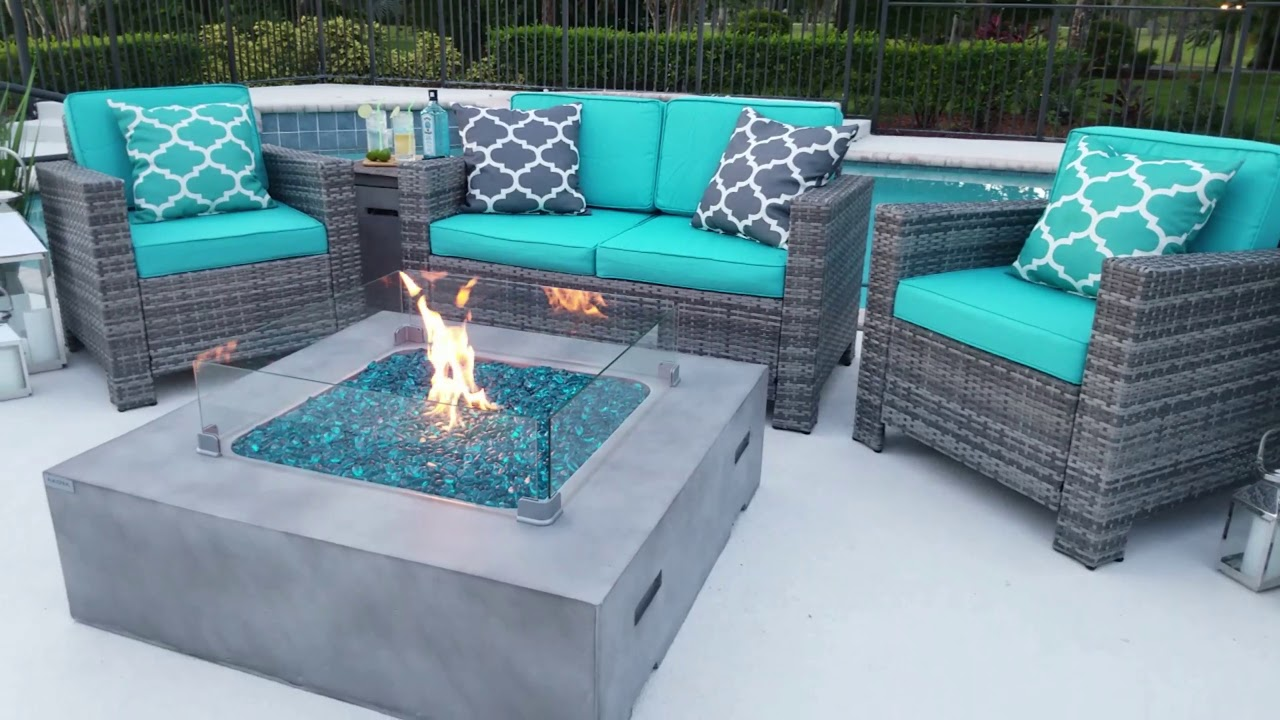 42 X Square Modern Concrete Fire Pit Table In Gray By Akoya Outdoor Essentials