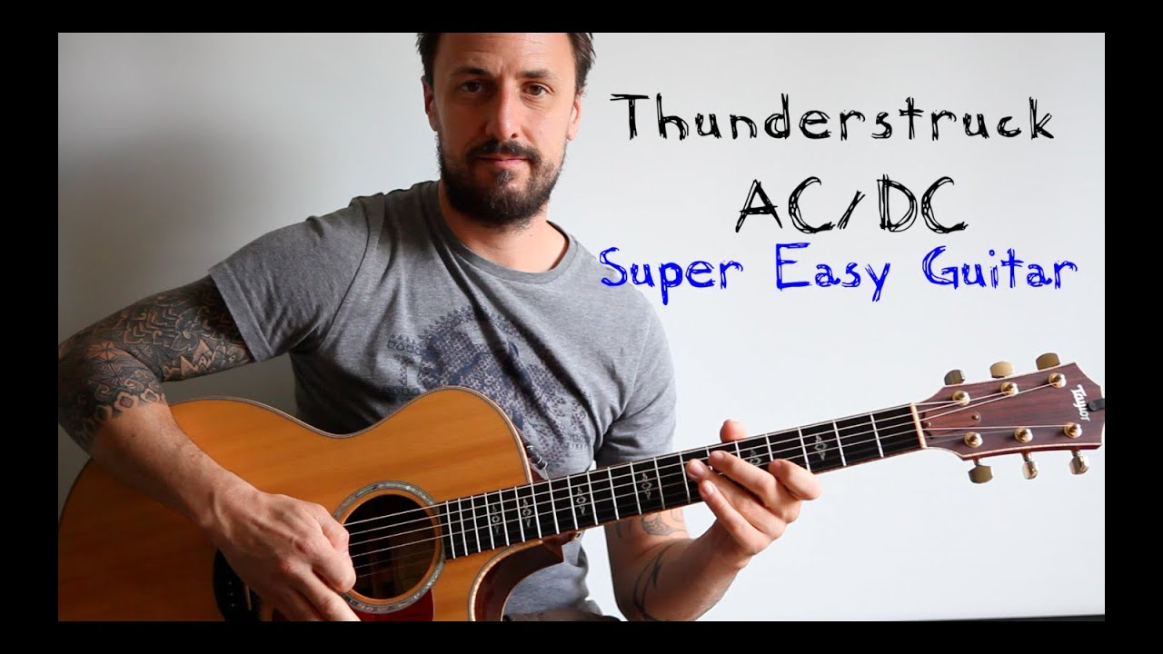 how to play thunderstruck on guitar easy