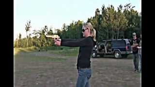 female with 50 cal desert eagle shooting big guns
