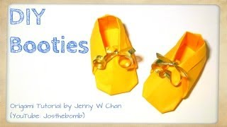 Diy Origami Booties - How To Make Paper Shoes / Sneakers - Baby Shower Gift Idea - Paper Crafts