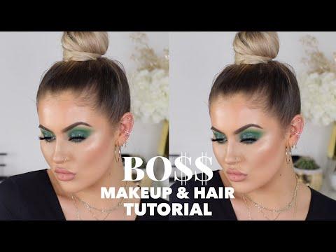 SMOKEY GREEN EYES & SLICK BUN HAIR/MAKEUP TUTORIAL   JAMIE GENEVIEVE