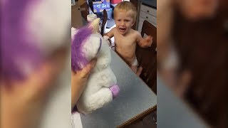 Watch Happy Toddler Get Instantly Terrified By Feisty Pet Toy