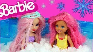 Barbie Syrenka • Chelsea • DIY • Basen i śnieg • bajka po polsku