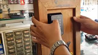 門禁感應扣及密碼開門主機,靜音鎖12V5A電源供應器,出口按鈕白金開關線路配線,新增感應扣及刪除感應扣,開門密碼設定說明講解