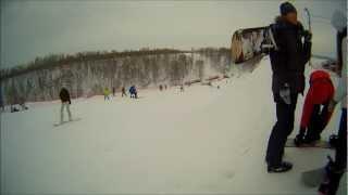2012-02-03. Омск. Крутая горка, обучение сноуборду
