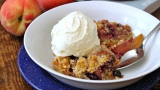 Fruit Cobbler - Crumb Topped Peach, Raspberry, Blueberry Skillet Cobbler Recipe