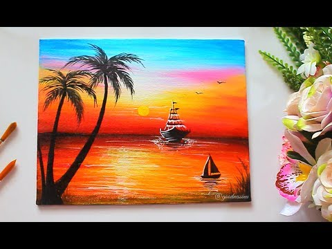 A Sunrise Landscape  Painting Tutorial Step by Step/ Painting for Beginners
