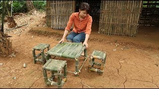 Survival Skills: Girls living in forest do Chair Table from bamboo