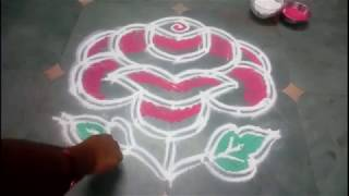 Simple dot Rose Kolam 7 X 4