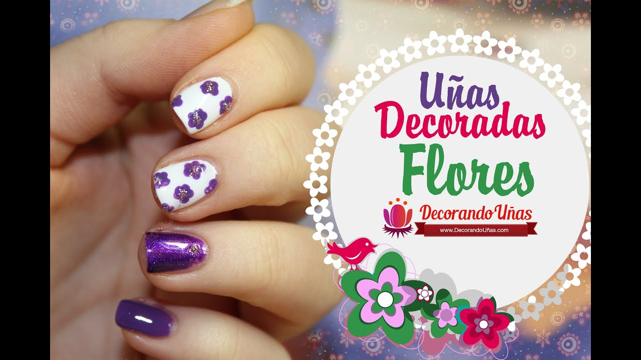 Uñas Decoradas Flores Violetas Youtube