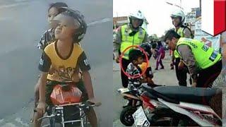 Bocah TK ditilang polisi, ekspresinya bikin geli - TomoNews