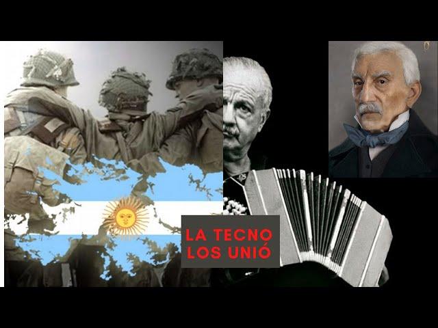 General San Martín hablando honra a caídos héroes de Malvinas, música de Piazzolla. 2 de Abril.