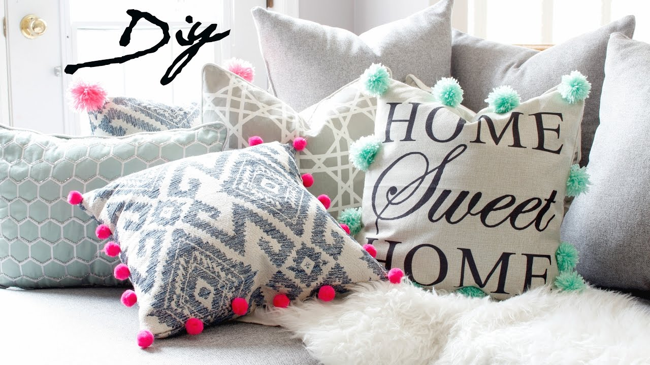 Diy Pom Pom Pillows Upcycle Pillow For 1 Youtube