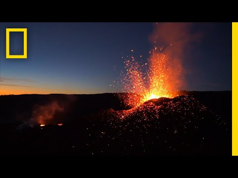 Soar Over a Red Hot Volcanic Eruption