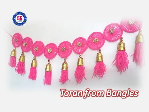 Diy/ Toran from old waste Bangles/Plastic spoons Bandhanwar //wall decor//best out of the waste