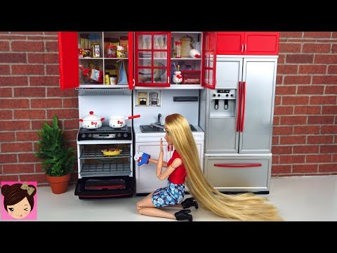 Disney Princess Rapunzel - Cooking Routine Barbie Toy Kitchen Hello Kitty Re-ment Miniatures