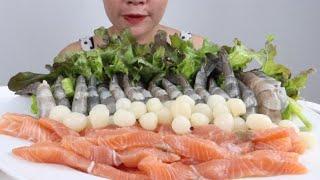 กุ้งดองน้ำปลากวน แซลมอนดองน้ำปลากวน จุ๊กุ้งจุ๊แซลมอน มะระ กระเทียมโทนดองกรอบๆ 29/6/2020