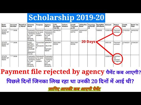 Scholarship 2019-20   Payment file rejected by agency वालो की पैमेंट कब आएगी   जानिए