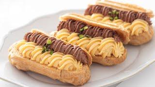 バニラとチョコレートのエクレア Vanilla & Chocolate Eclair|HidaMari Cooking