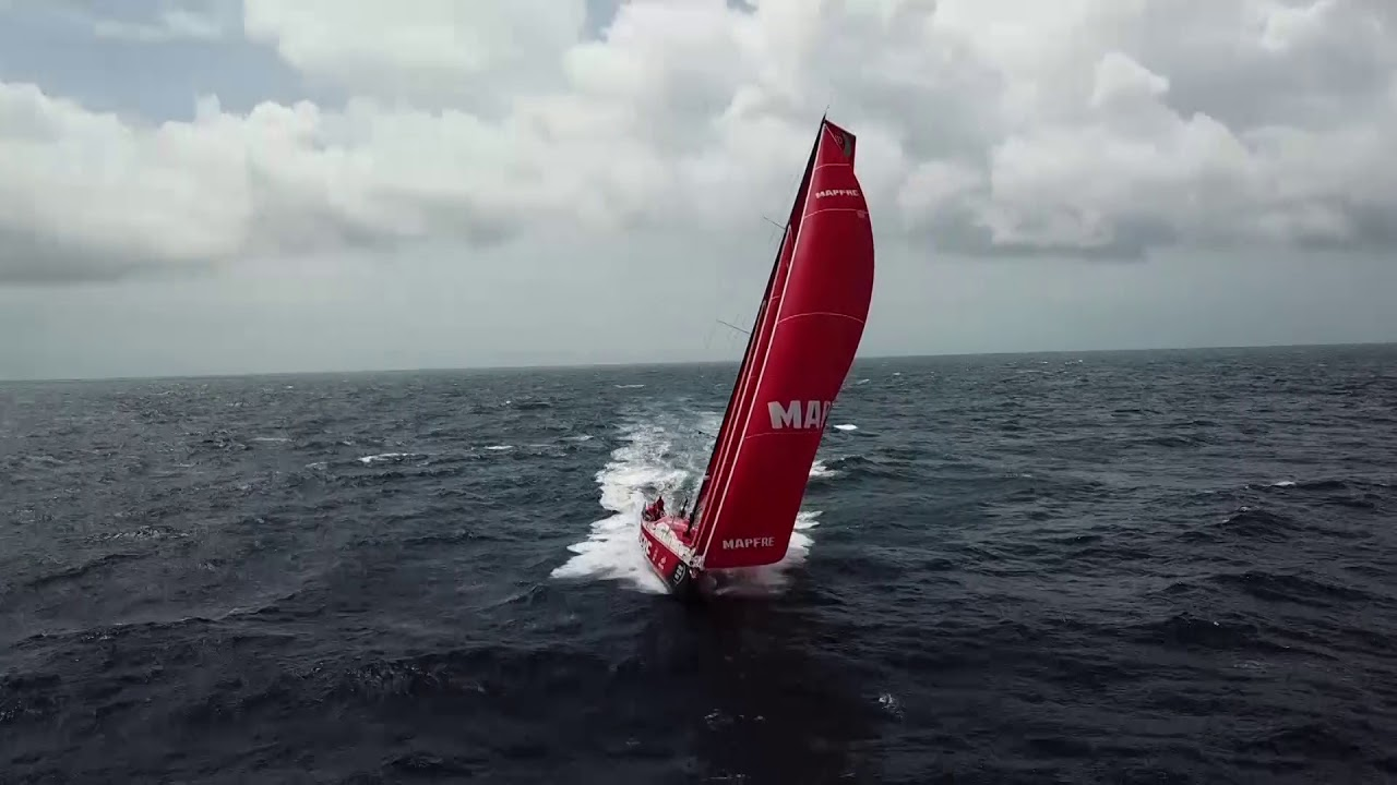 Drone shots of MAPFRE triple-heading on starboard in 20 knots of wind. Crew in the cockpit.