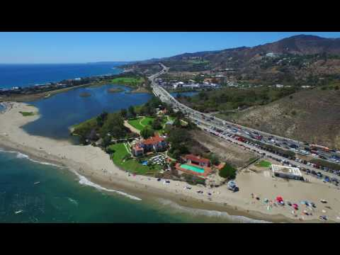 HOLLYWOOD TO MALIBU FROM ABOVE- LOS ANGELES CALIFORNIA USA