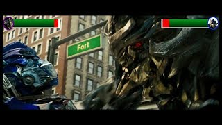 Megatron vs Optimus Prime with health bars (Transformers 1)