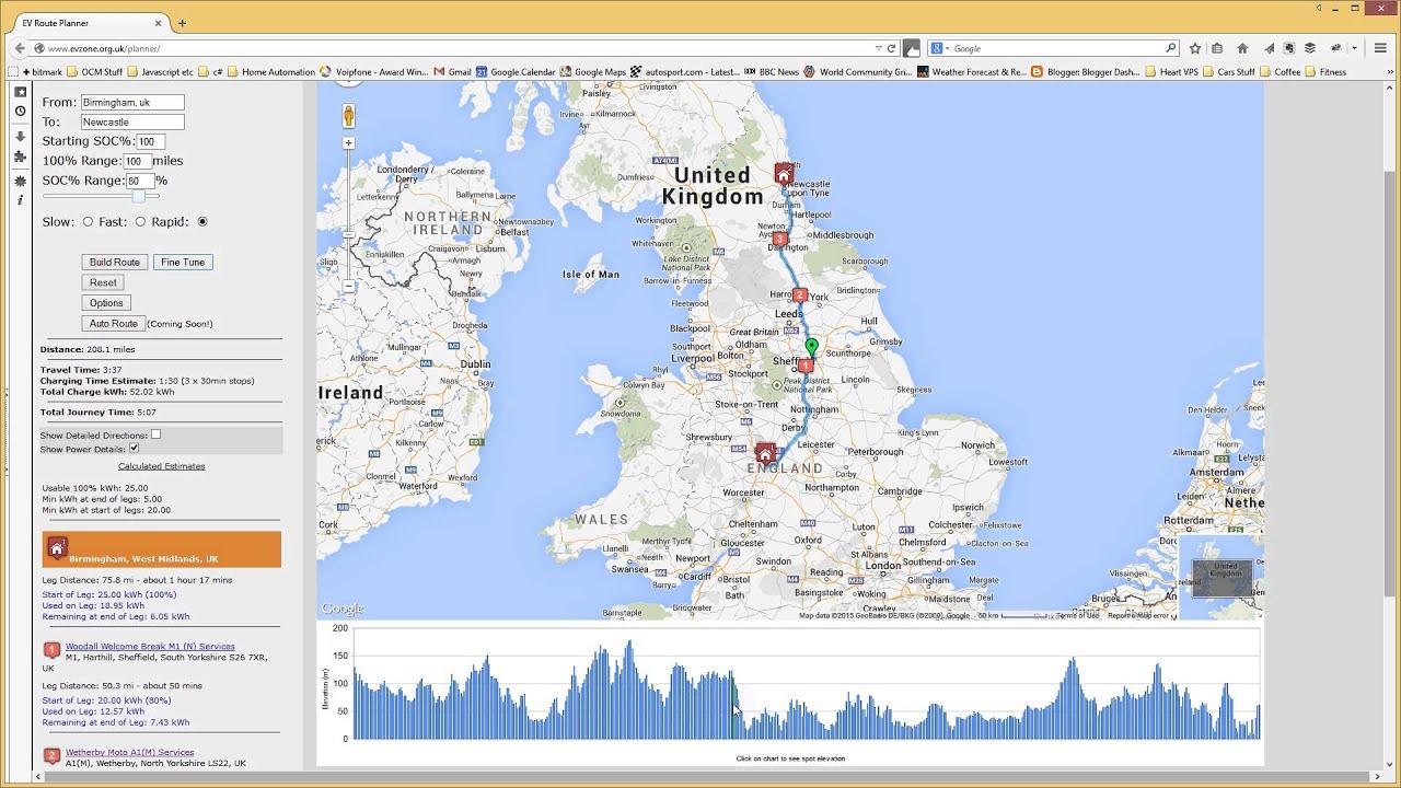 Ev Trip Planner >> Ev Route Planner Elevation Chart Youtube