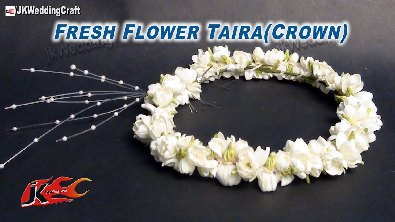 Diy how to make a fresh flower crown tiara jk wedding craft 009 youtube premium izmirmasajfo