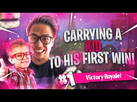 CARRYING A KID TO HIS FIRST WIN! Fortnite Full Game