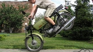 Crazy Russian bikers stunt | Стант на яве, jawa, иж, восход, мт, урал