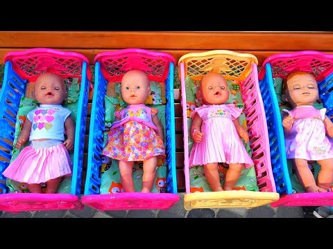 Polina playing with Dolls on Outdoor playground