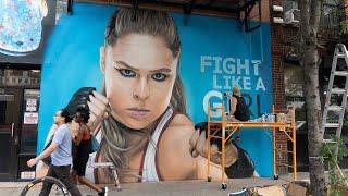 Ronda Rousey NYC graffiti mural time-lapse